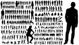 collection of silhouettes of people men and women - 168595033