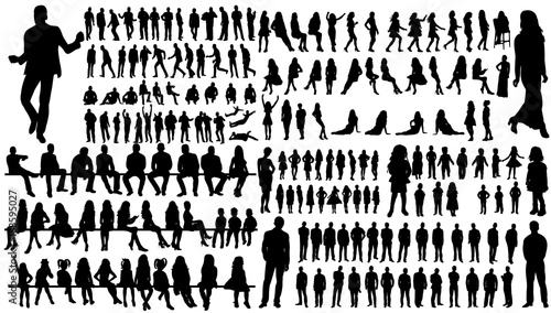isolated, a collection of silhouettes of people men and women