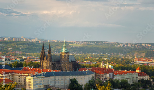 Fotobehang Praag Panoramic view of Prague Castle and St. Witt Cathedral. Prague. Czech Republic.