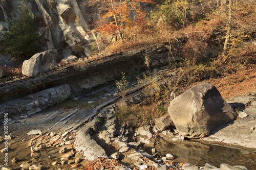 Papiers peints Gris traffic Mountain autumn landscape with a creek, different plants and big stones