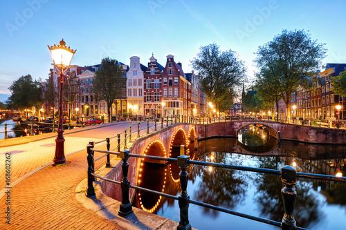 Fotobehang Amsterdam Amsterdam Canals West side at dusk Natherlands
