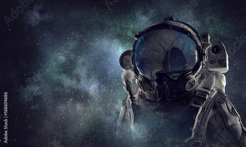 Foto op Canvas UFO Spaceman in astronaut suit. Mixed media