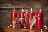 Still life with red advent candles