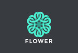 Flower Logo vector Infinite. Six point star Looped infinity icon