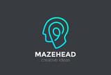 Head Logo abstract vector Linear. Think Brainstorm ideas icon - 168607889