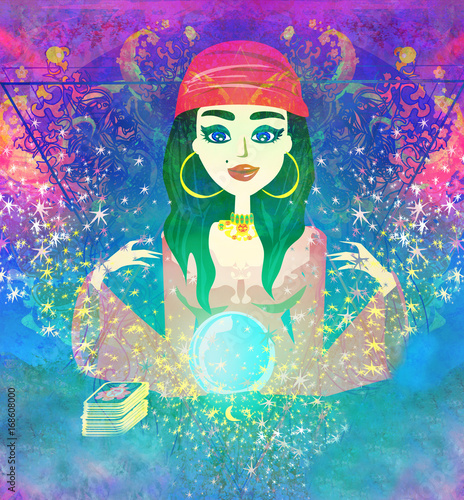 Fotobehang Abstractie Fortune teller woman reading future on magical crystal ball