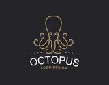 Octopus logo - vector illustration. Emblem design on black background
