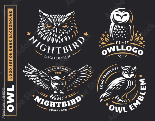 Owl logo set- vector illustrations. Emblem design on black background