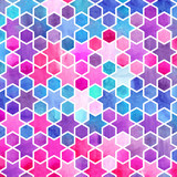 Watercolor abstract geometric pattern. Arab tiles. Kaleidoscope effect. Watercolor mosaic. - 168617881