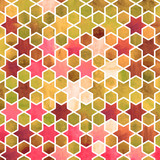 Watercolor abstract geometric pattern. Arab tiles. Kaleidoscope effect. Watercolor mosaic. - 168618050