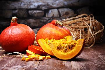 Pumpkin and pumpkin slices Autumn Healthy Food Nutrition Seasonal Vegetable Concept