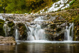 Waterfall in gorge Homole in Pieniny mountains, Poland