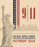 Fototapety Patriot day vector poster. September 11. 9 / 11