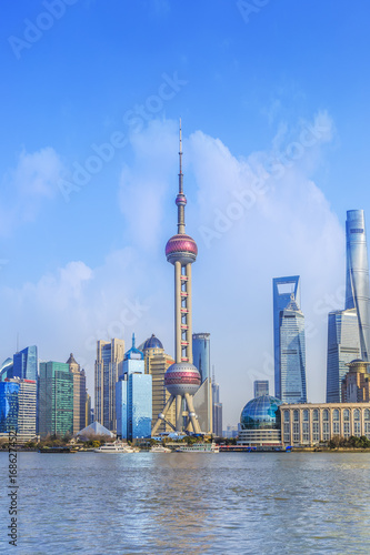 Spoed canvasdoek 2cm dik Shanghai Architectural scenery and skyline of Shanghai