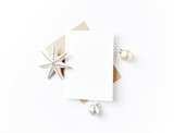 Blank Greeting Card and Christmas Decorations - 168628415