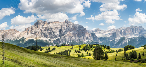 Fotobehang Overige wide panorama of alta badia region on summer in northern italy