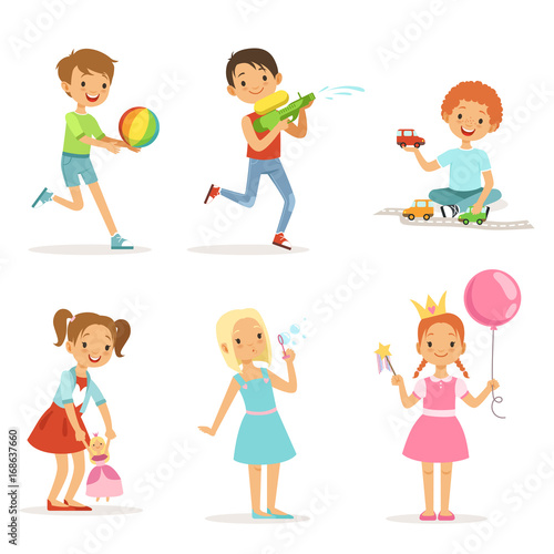 Happy children playing with funny toys on playground. Vector illustrations isolated © ONYXprj
