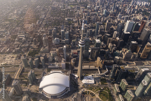Foto op Aluminium Toronto Aerial View of Toronto CN Tower and Rogers Centre