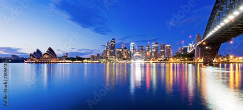 Poster Sydney Sydney skyline and harbor bridge during sunrise, New South Wales Australia