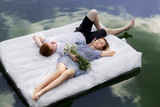 Fototapety Pair the mattress with daisies , a date on the river , floating.