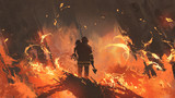 firefighter holding girl standing in burning buildings, digital art style, illustration painting - 168647495