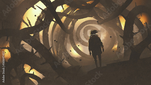 man walking in mystery forest with thorny tree, digital art style, illustration painting