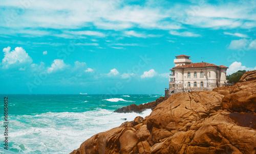 Aluminium Toscane Costa con mare in italia, toscana con castello