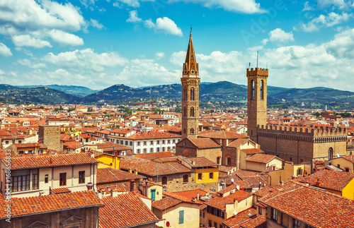 Fotobehang Florence Panorama view to tiled roofs and towers of Town hall in Florence