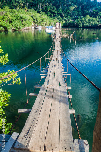 Hanging bridge over Rio Miel river near Baracoa, Cuba Poster