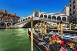 Italy. Venice. The Rialto Bridge (Ponte di Rialto) - the oldest bridge spanning the Grand Canal. Venice and its Lagoon is on UNESCO World Heritage List