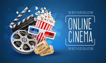 Online cinema art movie watching with popcorn, 3d glasses