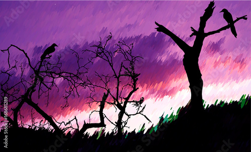 Staande foto Snoeien Nostalgic autumn landscape with bare trees and birds. Dramatic sky with purple and pink clouds with silhouettes of trees
