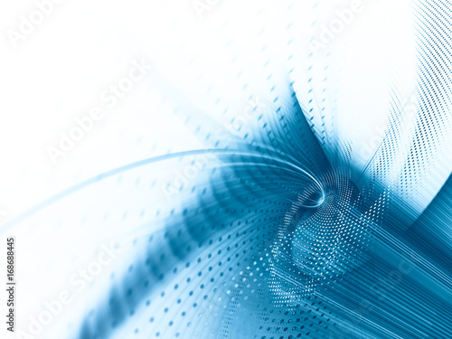 Wall mural Abstract background element. Fractal graphics series. Curves, blurs and twisted grids composition. Blue and white colors.