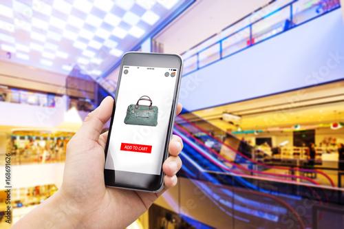 smart phone in modern shopping mall