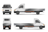 Fototapety Cargo van vector illustration isolated on white. City commercial lorry. delivery vehicle mockup from side, front and rear view. Vector illustration.