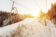 Empy ski-lifts in the mountains
