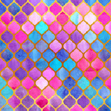 Watercolor abstract geometric pattern. Arab tiles. Kaleidoscope effect. Watercolor mosaic. Gold background. - 168700670