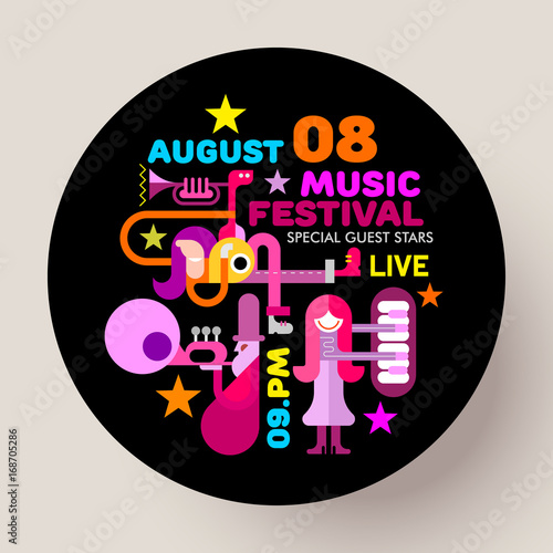 Fotobehang Abstractie Art Music Festival round template design