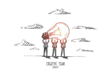 Creative team concept. Hand drawn people holding light bulb as a symbol of new idea. Burning bulb as a result of creative work of team isolated vector illustration. © drawlab19