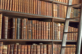 Old vintage books on wooden bookshelf and ladder in a library - 168712440