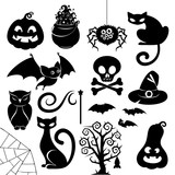 Halloween black silhouette icons set vector.