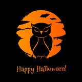 Halloween background with owl, moon and bats.