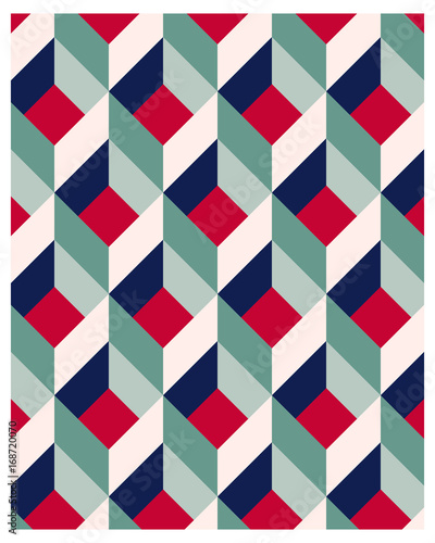 Abstract geometric pattern with rhombus and cube shape - 168720070