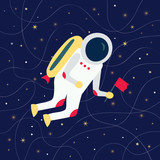 Cartoon cosmonaut holding a flag and flying in outer space - 168721638