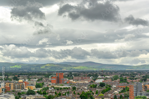 Aerial view of the city of Dublin, Wicklow mountains in the background, Ireland Poster