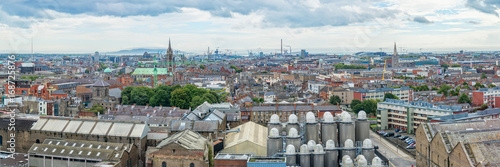 Fototapeta Panorama of the city of Dublin, beer brewery in the foreground, Ireland