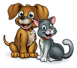 Cartoon Cat and Dog Pets - 168726635