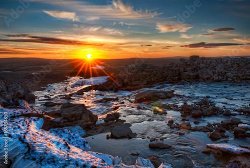 Foto op Plexiglas Groen blauw sunset