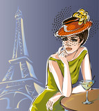 Beautiful woman sitting at street cafe with martini drink in Paris city near Eiffel tower vector
