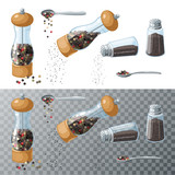 Pepper collection. Transparent glass mill, filled pepper peas. Pepper shaker, pouring ground pepper. Spoon with peppercorns. Vector illustration cartoon set flat icon isolated on white. - 168737662